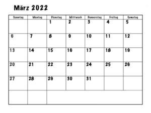 Kalender März 2022 Ausdrucken