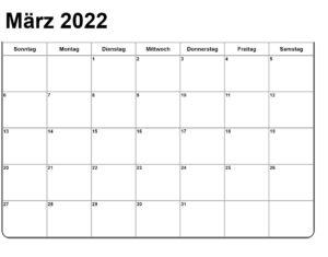 Kalender März 2022 Vorlage