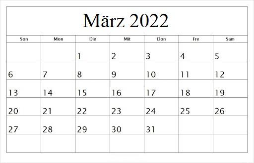 März 2022 Feiertags Kalender
