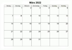 März 2022 Kalender PDF