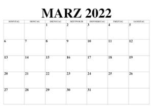 März 2022 Kalender Zum Ausdrucken