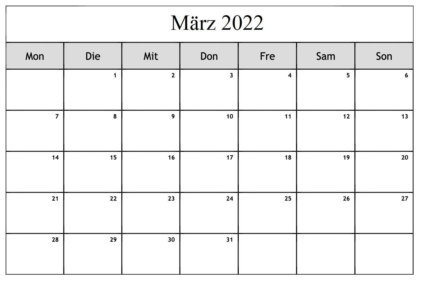 März 2022 Kalender