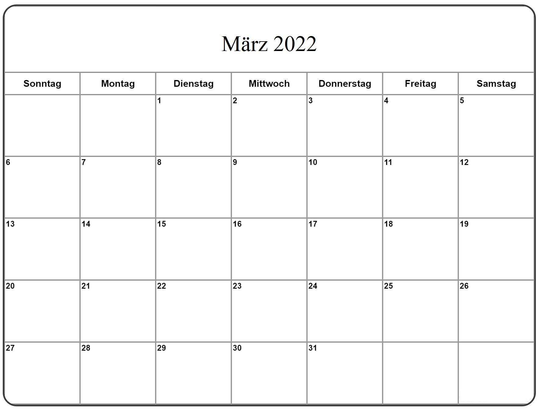 März Kalender 2022