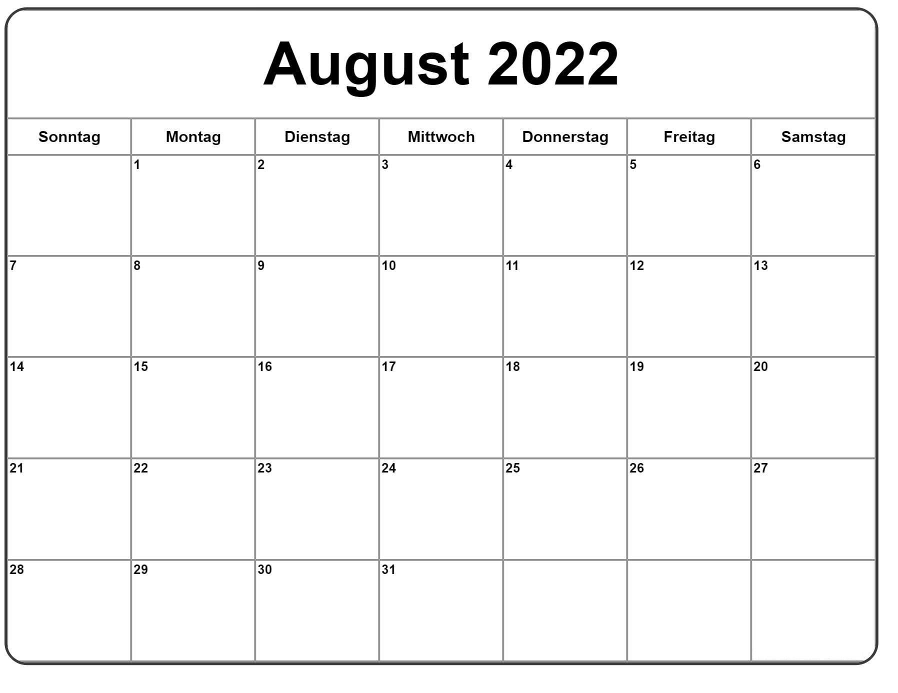 August 2022 Feiertags Kalender