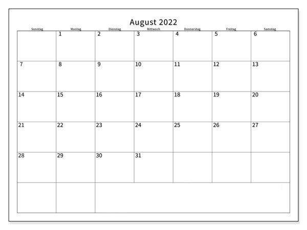August 2022 Kalender Ausdrucken