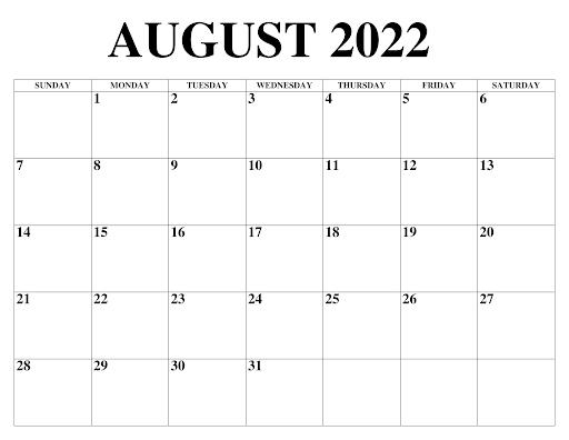 August 2022 Kalender Drucken