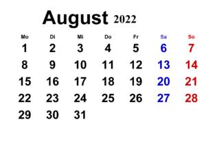 August 2022 Kalender Vorlage