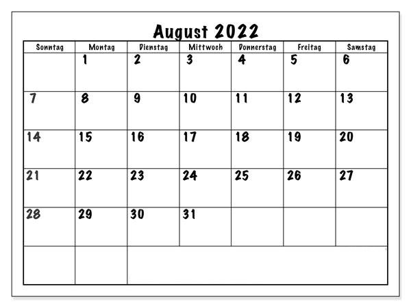 August 2022 Kalender Zum Ausdrucken