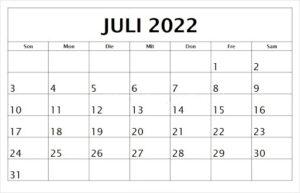 Juli 2022 Feiertags Kalender