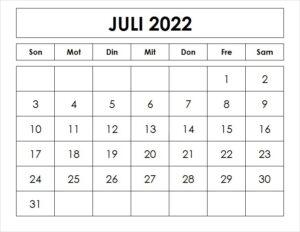 Juli 2022 Kalender Ausdrucken