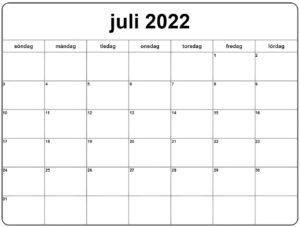 Juli 2022 Kalender Zum Ausdrucken