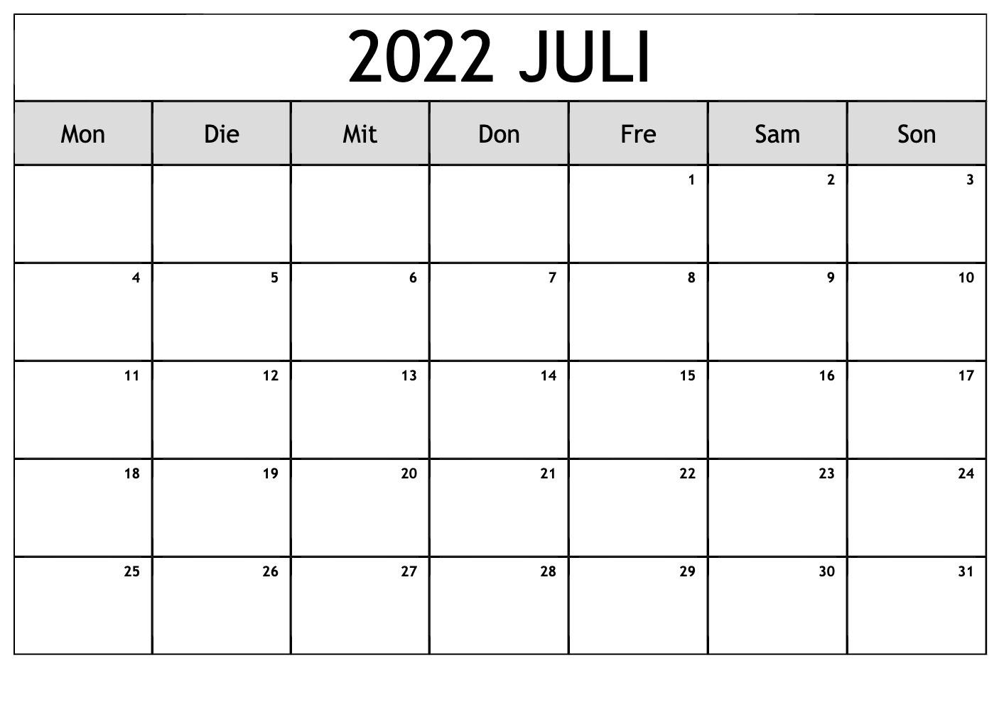 Juli Kalender 2022