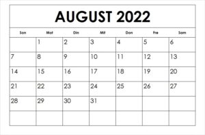 Kalender 2022 August