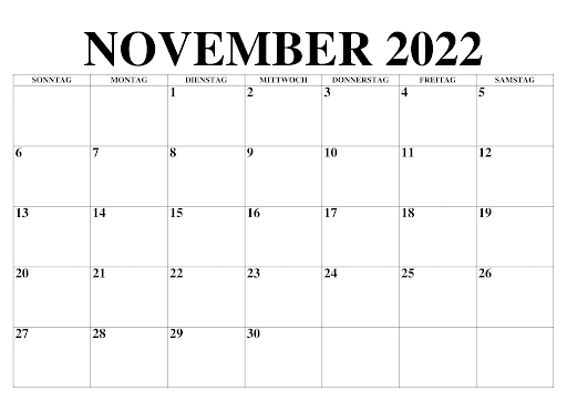Kalender 2022 November Zum Ausdrucken