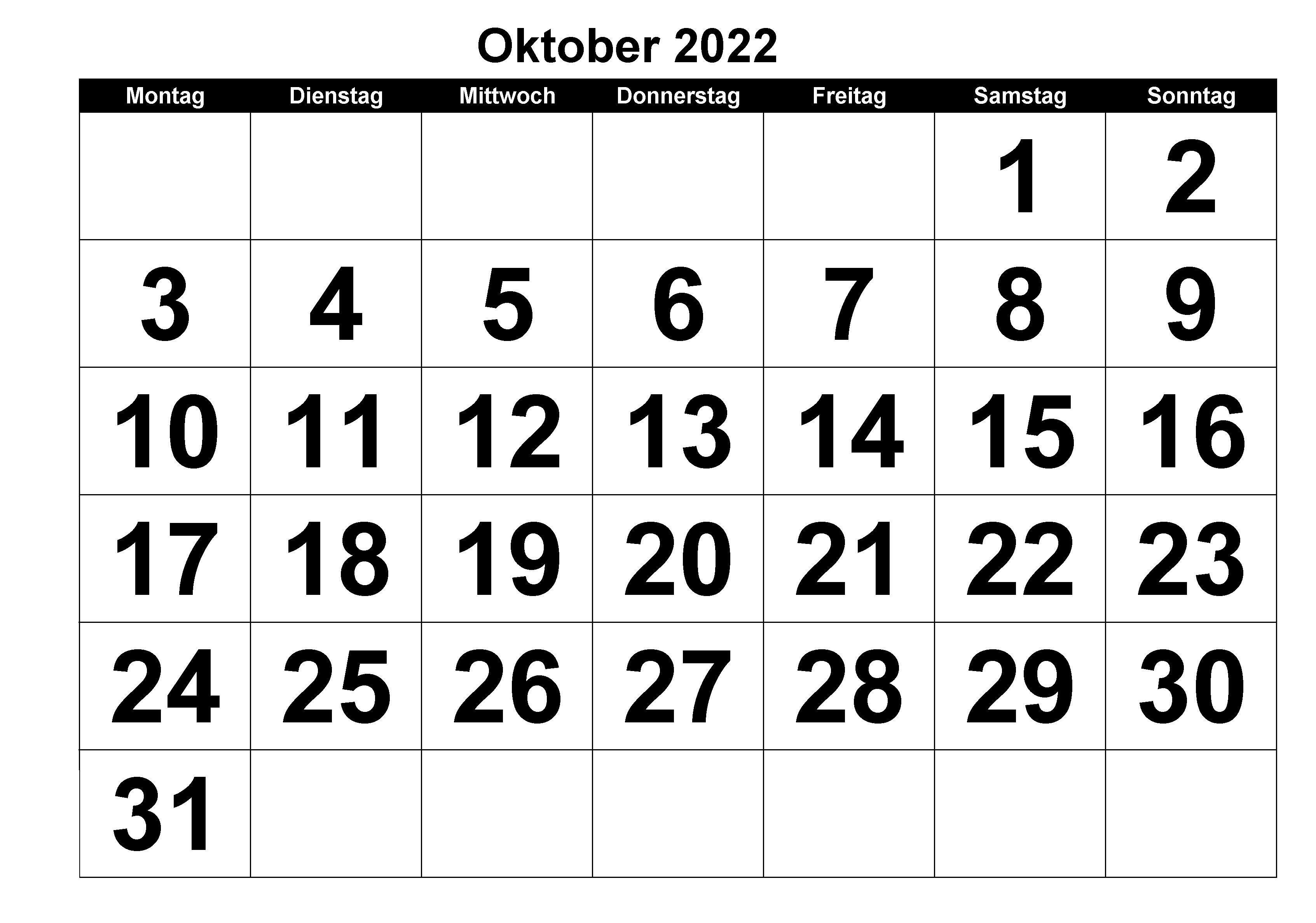 Kalender 2022 Oktober Zum Ausdrucken