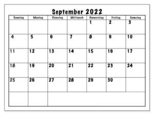 Kalender 2022 September Zum Ausdrucken