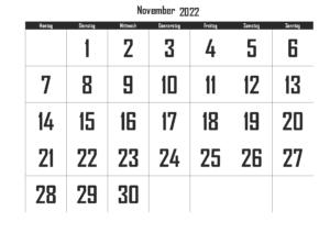 Kalender November 2022 Ausdrucken