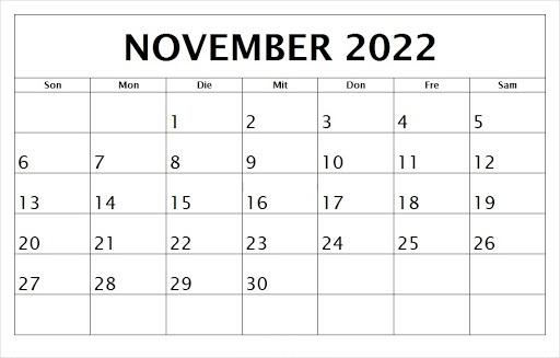 Kalender November 2022 Drucken