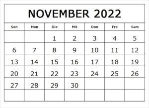 Kalender November 2022 Vorlage