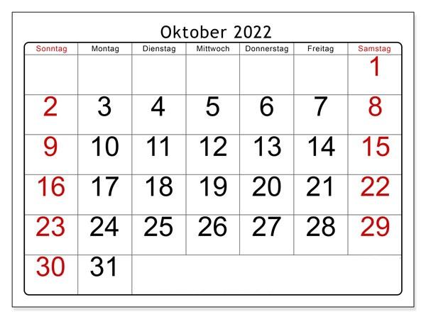 Kalender Oktober 2022 Ausdrucken