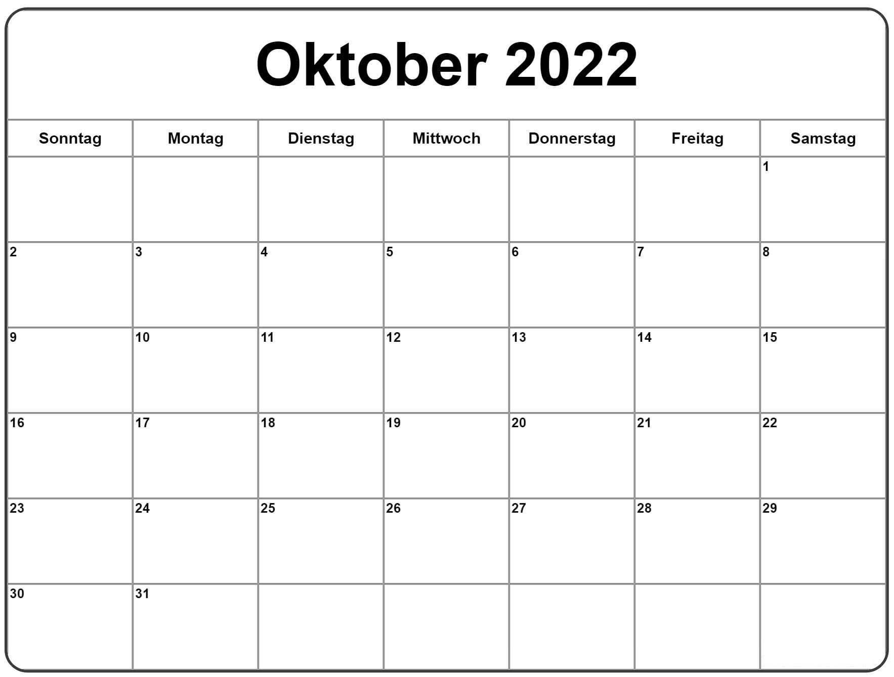 Kalender Oktober 2022 Drucken
