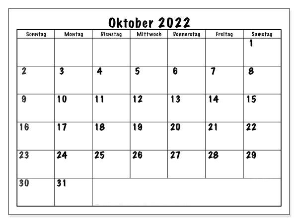 Kalender Oktober 2022 Vorlage
