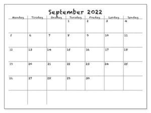 Kalender September 2022 Drucken