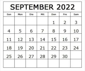 Kalender September 2022 Vorlage