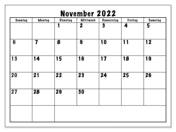 November 2022 Feiertags Kalender