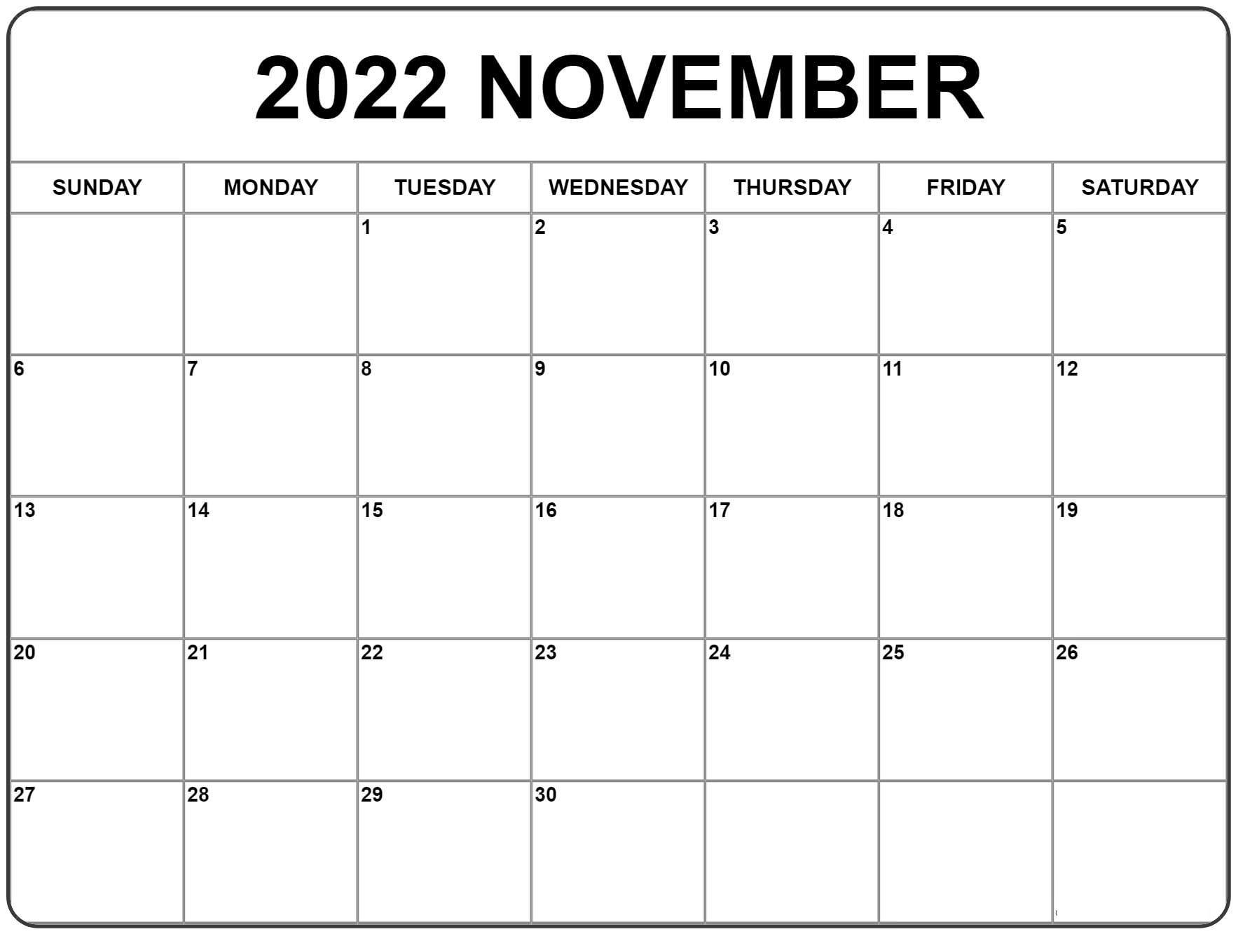 November Kalender 2022