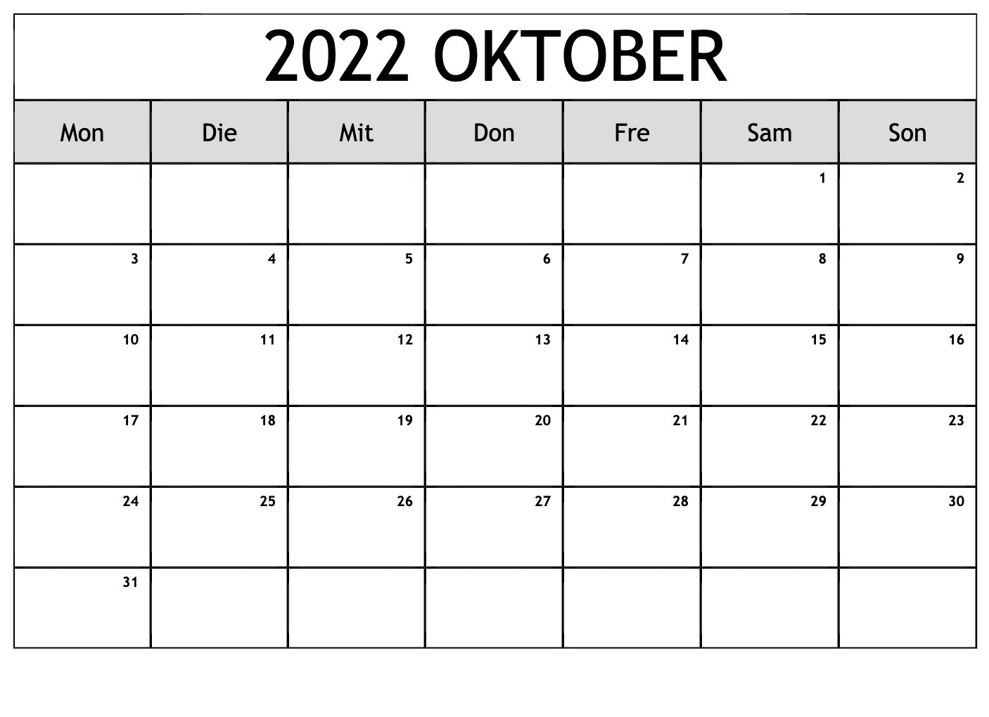 Oktober 2022 Feiertags Kalender
