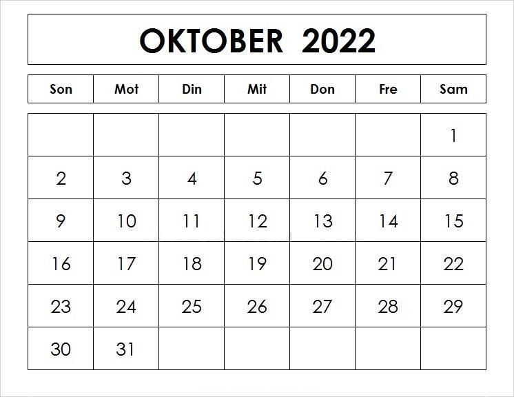 Oktober Kalender 2022