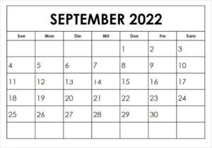 September 2022 Feiertags Kalender