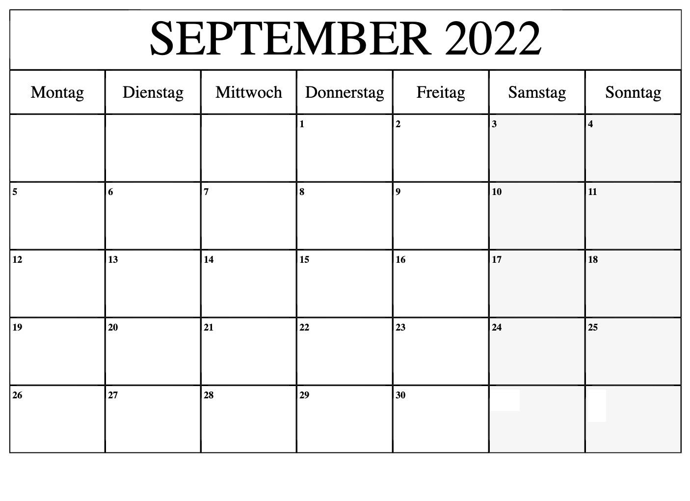 September 2022 Kalender