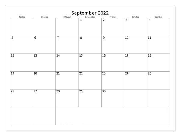 September Kalender 2022