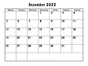 Dezember 2022 Feiertags Kalender
