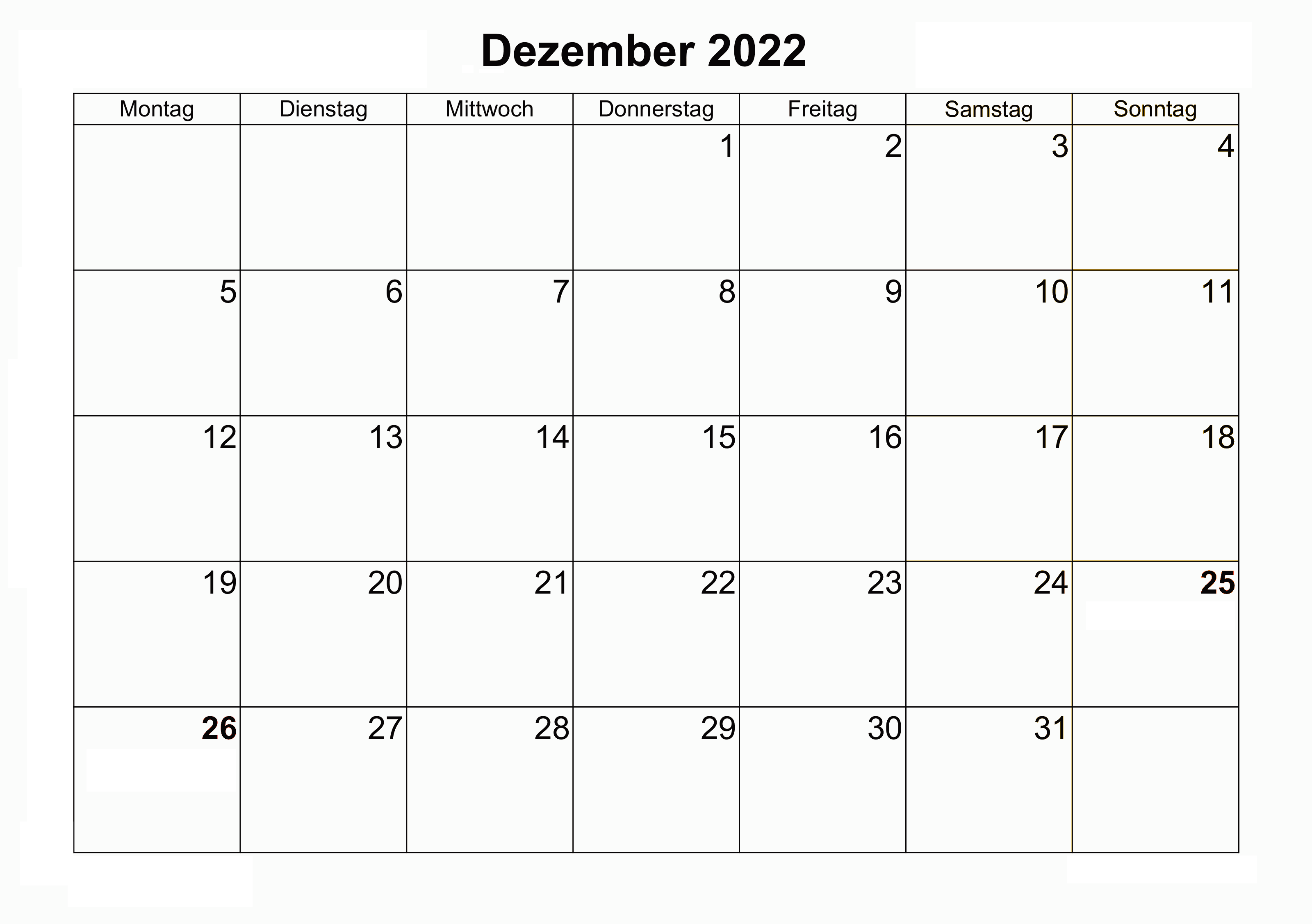 Dezember 2022 Kalender Ausdrucken