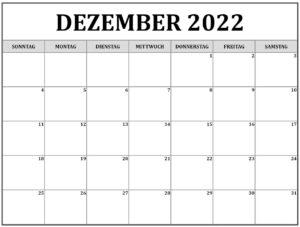 Dezember 2022 Kalender Vorlage