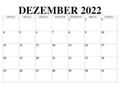 Dezember 2022 Kalender