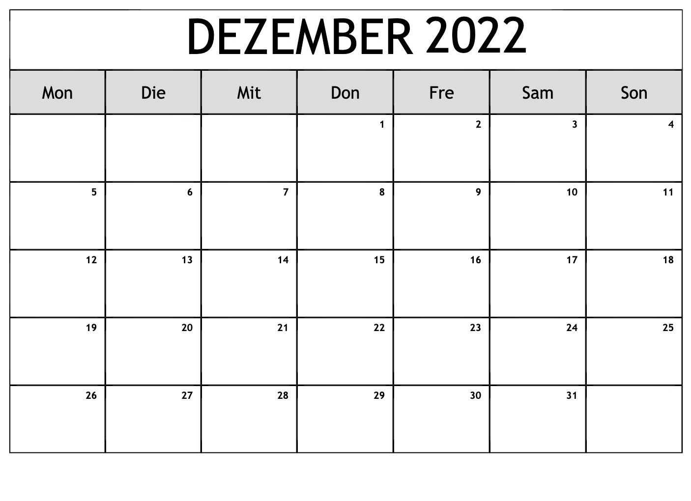 Dezember Kalender 2022
