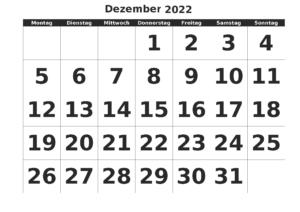 Kalender 2022 Dezember Zum Ausdrucken
