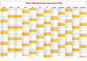 KalenderWinterferien Und Feiertage 2022 Mecklenburg-Vorpommern