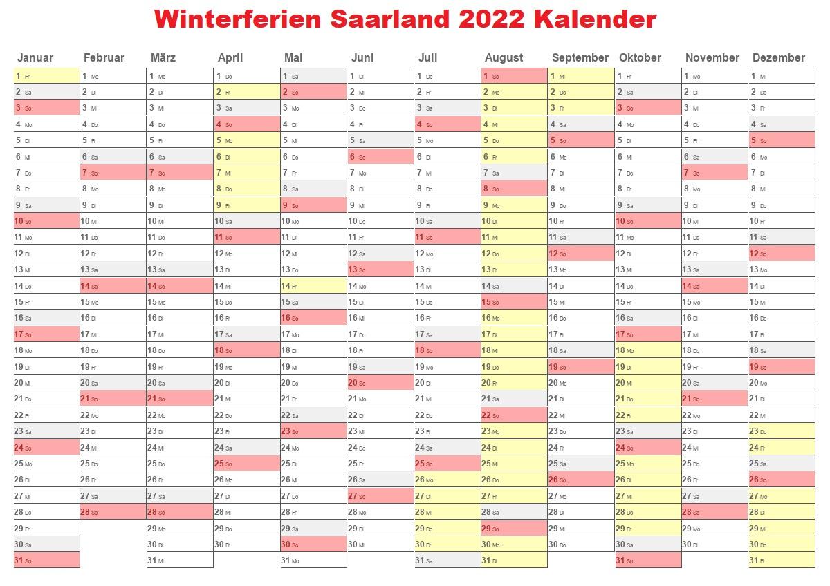 Winter Saarland 2022 Kalender Schulferien