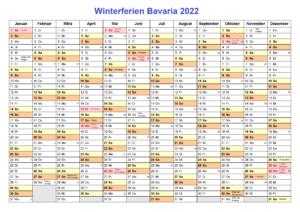 Winter Schulferien Bavaria 2022 Kalender