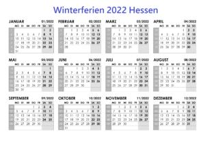 Winter Schulferien Hessen 2022 Kalender