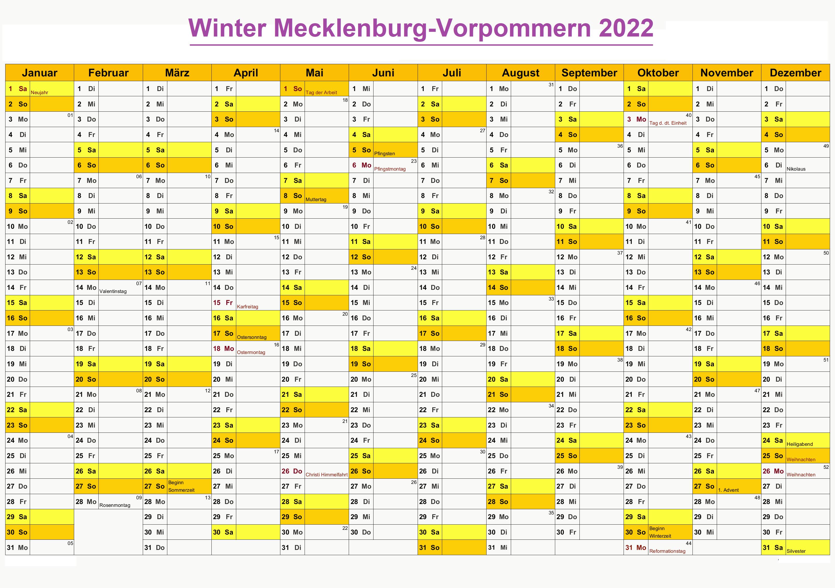 Winter Schulferien Mecklenburg-Vorpommern 2022 Kalender