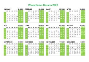 Winterferien Kalender 2022 Bavaria Excel