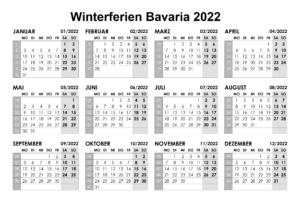 Winterferien Bavaria 2022 Kalender PDF