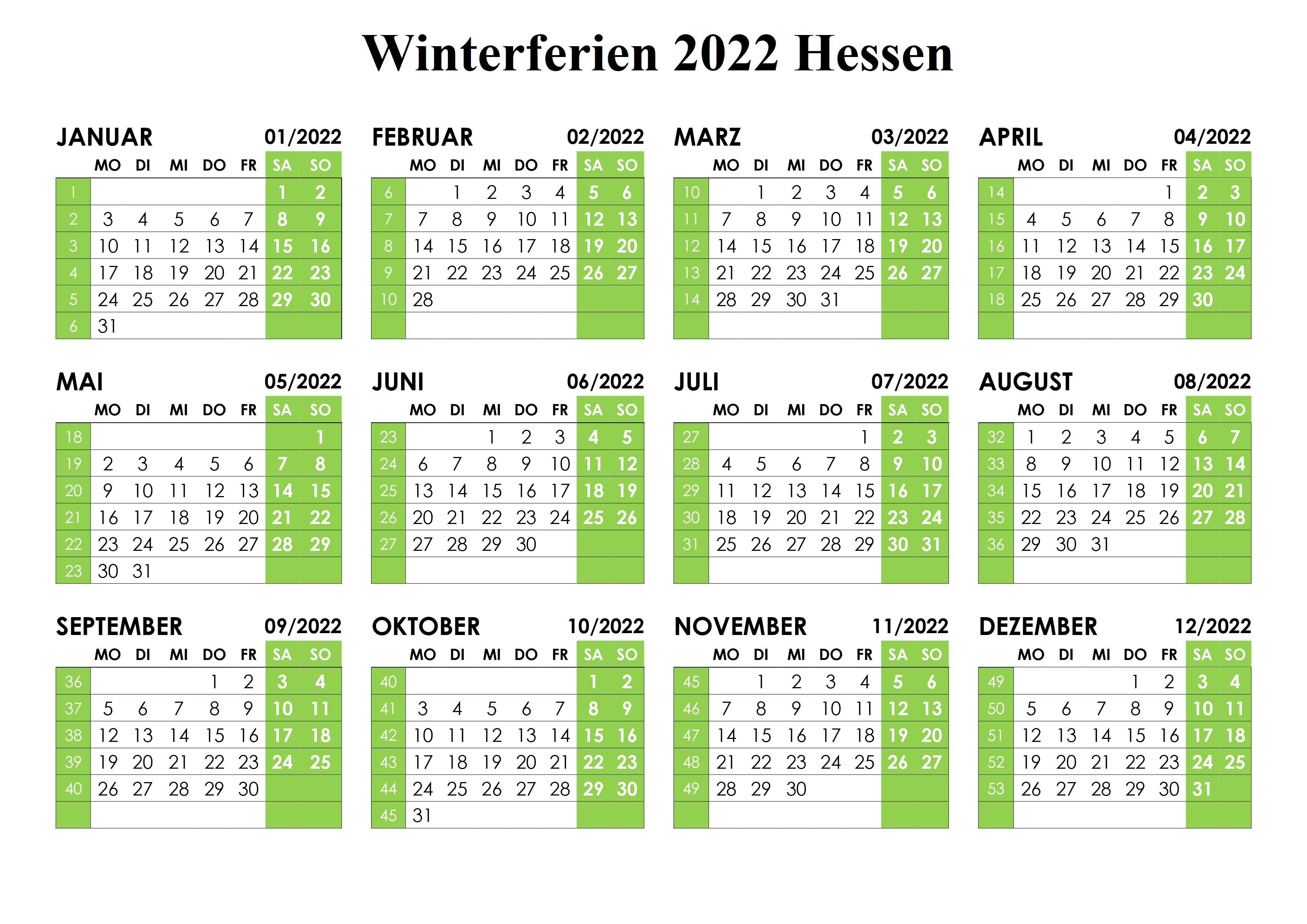 Winterferien Hessen 2022 Kalender Zum Ausdrucken