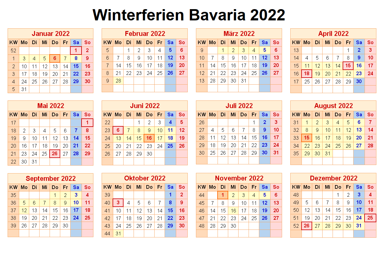 Winterferien Bavaria 2022 Kalender